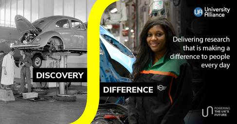 Split image: VW Beetle car in a garage left, female car mechanic right