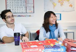 International postgraduates in a classroom
