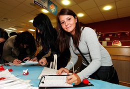 Student signing up for an activity at Open Day